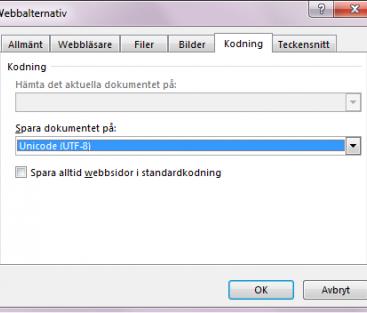 Exportera en csv-fil med svenska tecken