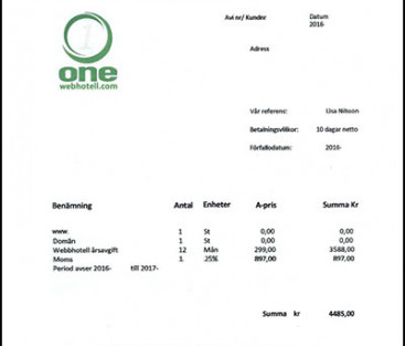 Se upp för bluffaktura från OneWebhotell